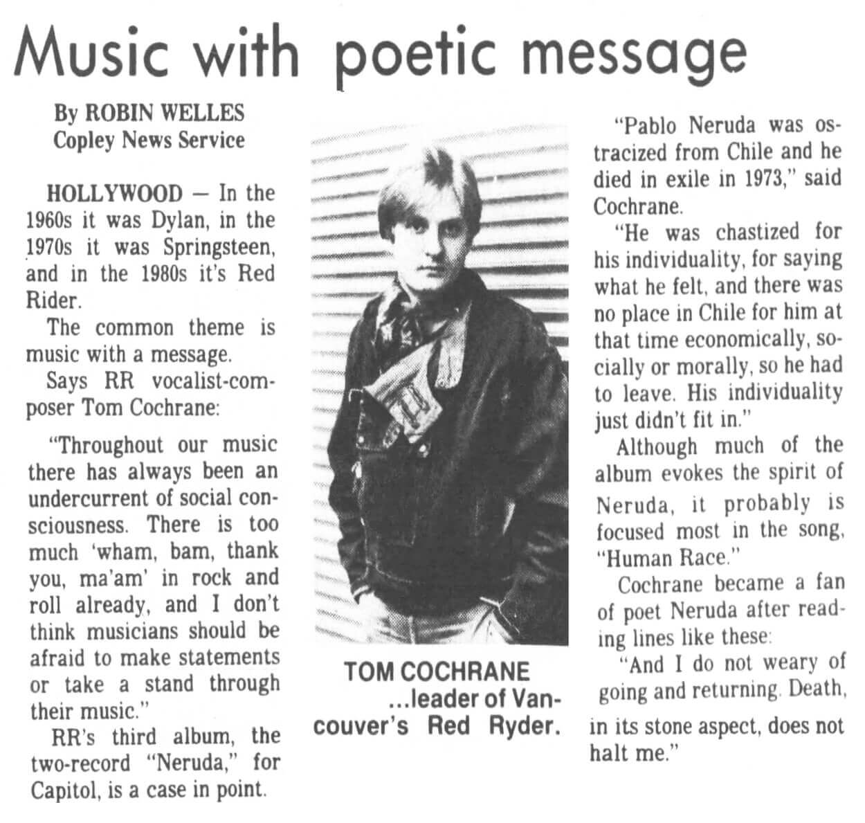 Music With Poetic Message - Red Rider