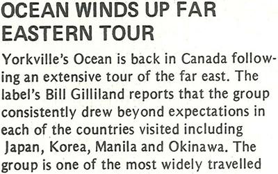 Ocean Winds Up Far Eastern Tour