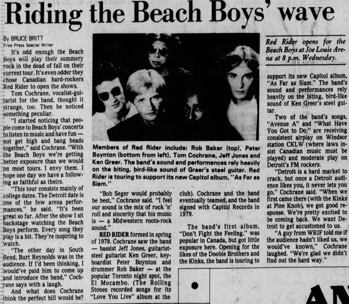 Riding The Beach Boys Wave - Red Rider