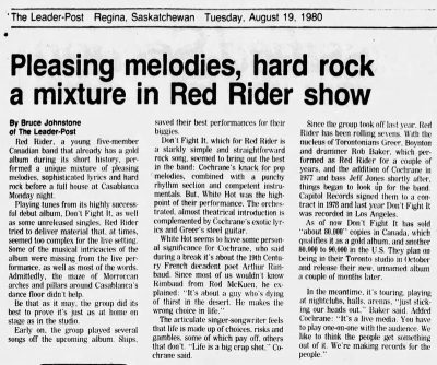 Pleasing Melodies, Hard Rock, Amixture in Red Rider Show