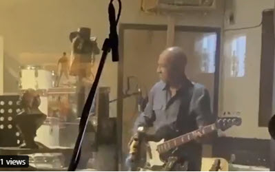 Jeff Jones in the studio with The Rowdymen